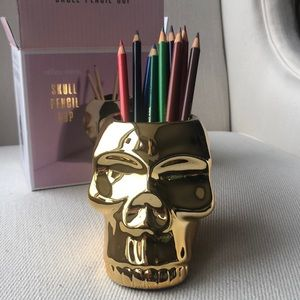 SKULL PENCIL CUP in GOLD